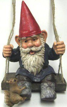Amazon.com: Happy Pastimes Swinging Garden Gnome Statue Swing: Home & Kitchen