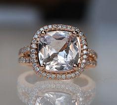 4.7ct square cushion peach champagne sapphire 18k by EidelPrecious, $6,000.00  Drop dead gorgeous.