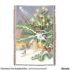 Christmas Tree Songbird Evergreen Church Throw Blanket