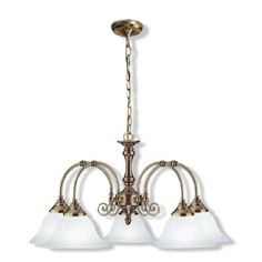 Heritage Five Light Pendant by Superlux. Get it now or find more All Ceiling Lights at Temple & Webster. Soft Lighting, Decorative Bells, Ceiling Fixtures, Glass Shades, Beautiful Chandelier, Pendant Lighting, Bronze, Ceiling Lights, Lights