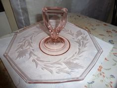 Beautifully etched Depression pink sandwich plate with handle by Tiffin glass 75USD
