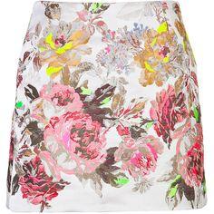 VALENTINO Jacquard Mini-Skirt (€780) ❤ liked on Polyvore featuring skirts, mini skirts, bottoms, valentino, saias, short mini skirts, short floral skirt, neon skirts, valentino skirt and floral a line skirt