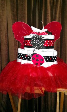 ladybug diaper cake - would be cute with ladybug themed shower decor we have