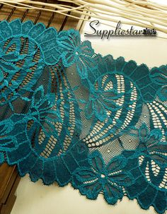 """1 Yard Bright Teal Floral Stretch Lace, Wedding Bridal Elastic Lace , 7.4"""" wide Garment Lace, Table Runner Lace, Item No.336 @suppliestar #craft #lace"""