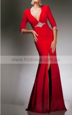 Long Sleeves Backless Chiffon V-neck Sheath Formal Dresses gjea70544--Hodress