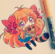 OMG this is from gekkan shoujo nozaki kun! Kawaii Anime, Kawaii Chibi, Cute Chibi, Kawaii Art, Copic Drawings, Kawaii Drawings, Cute Drawings, Marker Drawings, Marker Kunst