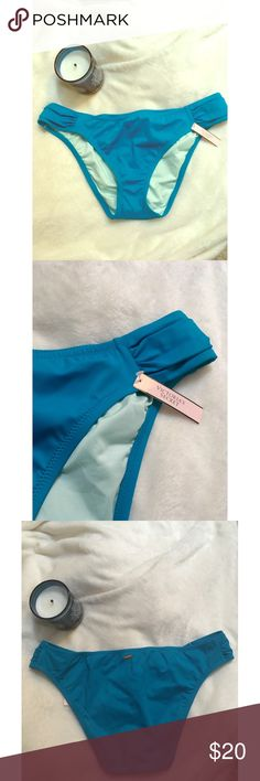 ✨ NWT Victoria Secret Turquoise Bikini Bottom - NWT Turquoise Victoria Secret Bikini Bottom - Never worn Victoria secret turquoise bikini bottom  - Still has tags and never removed plastic protection  - Gorgeous colorful bottom for the summer!  - Color is closest to second photo  - Rouched on the sides and small gold Victoria's Secret on back  - Brand: Victoria's Secret  - Sizs: XL but fits small, would fit L-XL best  *20% off 2+ * Make me an offer!! Victoria's Secret Swim