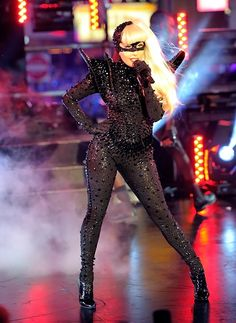 Lady Gaga performs in a black sparkly cat suit on New Year's Eve 2012 in New York's Times Square.