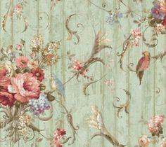 12-31cm-Wallpaper-SAMPLE-Bird-Rose-French-Cottage-Floral