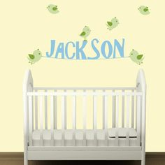 Customized Name Decal with Birds for Nursery - Removable Vinyl Wall Decal Sticker. $35.00, via Etsy.