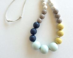 Bubble necklace hand painted beads beaded statement