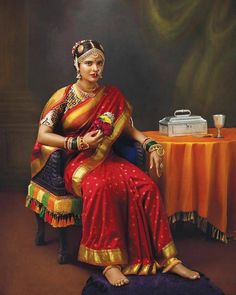 Raja Ravi Verma's Paintings Brought Back To Life With Real Muses & Antique Gold Jewellery Designs Of Yore - The Jewellery Diaries Antique Jewellery Designs, Gold Jewellery Design, Gold Jewelry, Lakshmi Manchu, Actress Pics, Gold Choker Necklace, Classic Elegance, Real Women, Indian Outfits