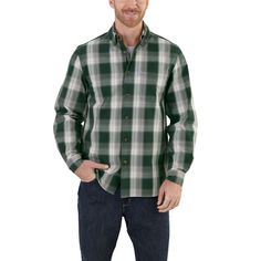 102278 Carhartt Men's Essential Plaid Button Down LS Shirt