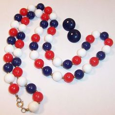 """36"""" Patriotic Red, White, Blue Beaded Necklace from ruthsredemptions on Ruby Lane"""