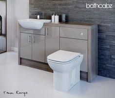 Latte / Driftwood Bathroom Fitted Furniture 1500mm · $719.00 Toilet Vanity Unit, Toilet And Sink Unit, Sink Units, Vanity Units, Fitted Bathroom Furniture, Space Saving Bathroom, Concealed Cistern, Bath Panel, Family Bathroom
