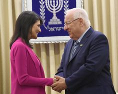 Reuven RivlinVerified account @PresidentRuvi  14h14 hours ago  More   Welcoming to #Israel @USUN Amb @NikkiHaley. With you, Israel is no longer alone at the UN, and no longer the UN's punching bag. @IsraelinUN