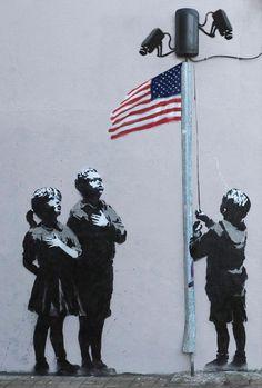USA Surveillance State [Street Art]  Banksy?