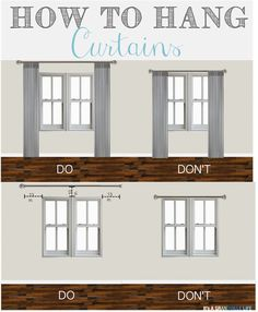 Thursday's Tips & Tricks: How to Hang Curtains. Home decorating ideas - How to hang curtains, so many great tips. living room decor farmhouse You can find out more details at the link of the image. House, Home Projects, Hanging Curtains, Home Remodeling, Cheap Home Decor, New Homes, Home Decor, Interior Design, Home And Living