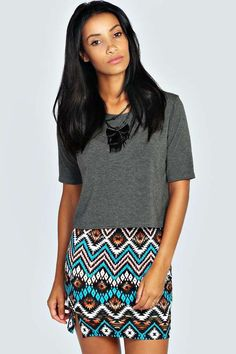 Tori Aztec Print Front Split Mini Skirt