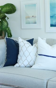 Coastal Style Blue and White Living Room Lakehouse Living Room Makeover Reveal for the One Room Challenge -14