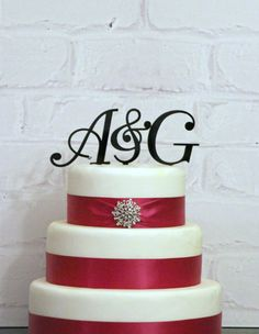 "Wedding Cake Toppers -  (2) 3"" tall Monogram Initials & Ampersand Acrylic in Any Letters A B C D E F G H I J K L M N O P Q R S T U V W X Y Z on Etsy, $31.81 CAD"