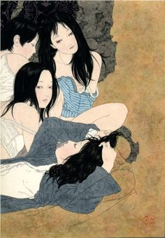 Takato Yamamoto - Unknown Title (Four Girls) Japanese Art Modern, Japanese Drawings, Japanese Prints, Japan Illustration, Yamamoto, Art Kawaii, Art Asiatique, Japan Art, Illustrations And Posters