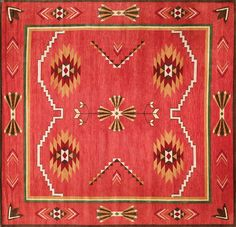 Wonderful New Moon Rug   LW65A, Red. Featuring Tones Of Red, Orange, Brown