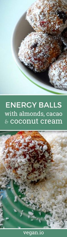 Energy Balls with Almonds, Cacao and Coconut Cream  | Vegan.io | The easist way to follow a vegan diet
