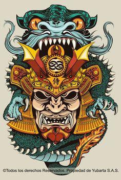 Illustration created for a sport cloth brand. Japanese Oni, Traditional Japanese Art, Japanese Dragon, Japan Tattoo Design, Sketch Tattoo Design, Japanese Tiger Tattoo, Japanese Sleeve Tattoos, Tattoo Illustration, Graphic Design Illustration