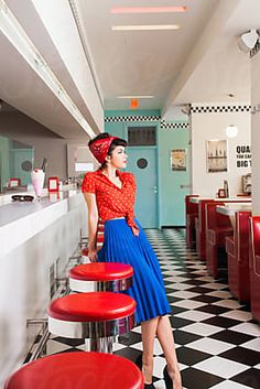 Handsome rockabilly pin up waitress in vintage cafe. Handsome rockabilly pin up waitress in vintage cafe. Looks Rockabilly, Mode Rockabilly, Rockabilly Fashion, Rockabilly Dresses, Pin Up Outfits, Retro Outfits, Vintage Outfits, Vintage Fashion, Fashion Outfits