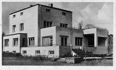 Postkarte etwa 1930 von H. Köster: Gartenseite des modernen Bauhaus-Stil Gebäudes, Villa Lampert
