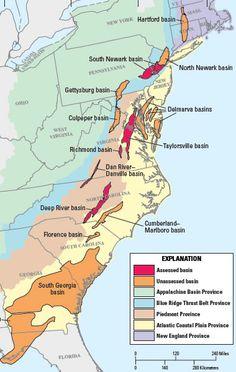 Mesozoic Natural Gas Basins Map