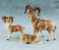 Vintage Miniature 3 Bone China Wild Bighorn Sheep Ram Family Figurines Matte Japan. $28.99, via Etsy.