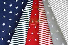 Stars & stripes in gray, navy and red cotton fabric set / Zestaw szaro-czerwono-granatowy