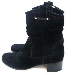 Naturalizer Comfort Carlyle 10M Black Suede Slouchy Med Heel Ankle Boots #Naturalizer #SlouchBoots #Casual