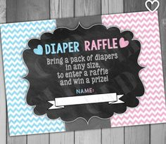 Diaper Raffle Ticket Gender Reveal He or She Baby Shower Game Party Game… Gender Reveal Games, Gender Reveal Balloons, Gender Party, Baby Gender Reveal Party, Baby Shower Drinks, Baby Shower Games, Babyshower, Just In Case, Just For You