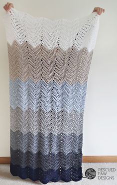Make this gorgeous ombre ripple throw by Rescued Paw Designs with Vanna's Choice! Get the free crochet pattern and make it now with a size I (5.5mm) crochet hook and 7 skeins of yarn (1 each in silver blue, linen, navy, silver heather, silver grey, charcoal grey, and white - or the colors of your choice).