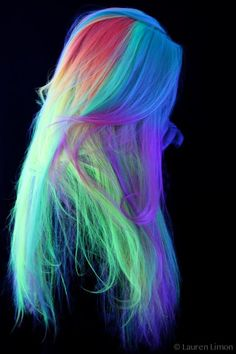 blacklight neon hair done with the new kenra neons! photo by lauren limon! - blacklight neon hair done with the new kenra neons! photo by lauren limon! not quite glow in the dark, but UV reactive Cute Hair Colors, Pretty Hair Color, Beautiful Hair Color, Hair Dye Colors, Rainbow Hair Colors, Neon Rainbow, Colourful Hair, Neon Colors, Rainbow Hair Highlights