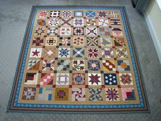 """This is our """"Circle of Friends"""" Civil War  sampler quilt, each block completed by a different quilter - from all over the world, sent to Becky Brown, who put them together, got it quilted, and gave it to Barbara Brackman to thank her for her 2011 Blog - my block is 4 down, 2 in from the left side!"""