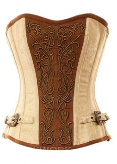 Ivory Brocade Pattern with Bronze Panel and Gold Detailing Corset - Vintage Goth Vintage Corset, Vintage Gothic, Sexy Corset, Overbust Corset, Corset Shirt, Corset Tops, Corset Cake, Boned Corsets, Corset Dresses
