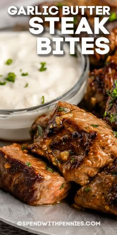 Marinate these tasty, high protein treats to make them extra tender! Then serve up a healthy portion of steak bites with garlic butter and potatoes or other side dishes. #spendwithpennies #steakbites #recipe #appetizer #garlicbutter #tender #best #easy #marinated #keto Appetizer Recipes, Dinner Recipes, Appetizers, Steak Recipes, Cooking Recipes, Main Dishes, Side Dishes, Garlic Butter Steak, Beef Dishes