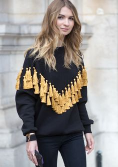 Tassels on a knit -- PFW Street Style