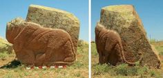 """A life-size granite lion sculpture discovered in the town of Karakiz in Turkey. Dating back more than 3,200 years, to the time of the Hittite Empire, the lion is shown """"prowling forward"""" with rippling muscles and a curved tail."""