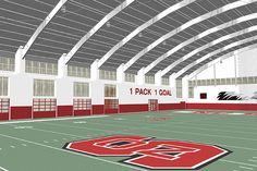 Rendering of NC State's planned football practice facility. (Image courtesy NC State Media Relations)