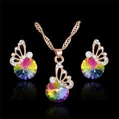 SHUANGR Pink CZ Zircon Colorful Crystal Jewelry Set Gold Color Chain Butterflt Pendant Necklace Earrings Set Bijoux Femme