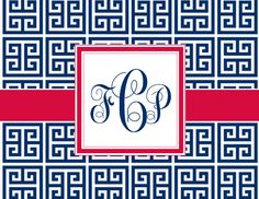 Personalized Blue, Red and White Monogram Stationery -  Greek Key and Chevron Pattern Folded Note Cards (Size A2) by ABirdIntheHandCreate on Etsy