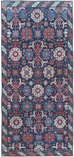 Late 19th century South Caucasus antique Karabagh runner, the indigo field with large palmettes and geometric motifs within an abstract geometric border. Watch full size video of A Russian Karabagh runner, Circa 1880, ID BB0130 - Video