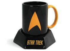 Star Trek Mug with Transporter Sound Effect Coaster.