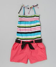 Look what I found on #zulily! Blue & Pink Stripe Shirred Romper - Infant & Girls #zulilyfinds              9.99