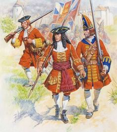 British; Infantry War of the Spanish Succession, c.1707. Musketeer, Officer & Grenadier. The Grenadier is possibly from a Guards regiment